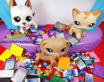 Littlest Pet Shop 3pc Lot Cell Phone Tablet Fidget Spinner Accessories LPS