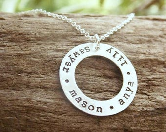 Necklace Sterling Silver Hand Stamped Washer Necklace with Kids Names