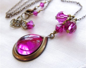 Fuchsia Necklace Swarovski Crystal Jewelry Glass Pendant Hot Pink Bridesmaid Gifts Rustic Wedding Antiqued Bronze Vintage Jewelry