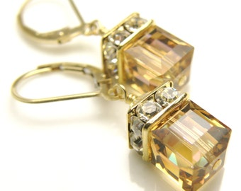 Yellow Topaz Crystal Earrings, Swarovski Cube Drop Earrings, Gold Filled, Bridesmaid Wedding Jewelry, November Birthday Birthstone Gift