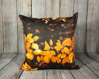 Bronze Pillow Cover, Autumn Leaves Cushion Case, Fall Interior Decoration, Topaz Man Cave Accent, Cottage Sofa Decor, Cabin Chair Ornament