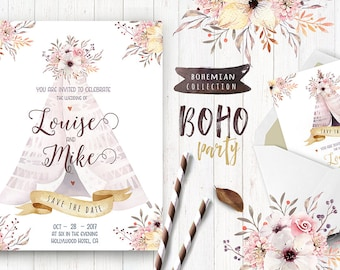 Watercolor boho teepee, arrow, feathers. Wedding  floral digital tee pee, arrows, Clip art. Individual  bohemian PNG bouquets. Hand Painted