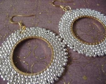 Hoop Earrings - Silver and Gold Satin Seed Bead Hoop Earrings