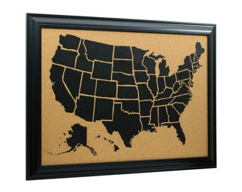 Craig Frames, 20x30 Inch Wayfarer Cork Board, Illustrated United States Push Pin Travel Map, Satin Black Frame and Pins, (5812030MAP01G)