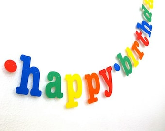 happy birthday Banner in Primary Colors.  Ships Priority.  5280 Bliss.  Rainbow Birthday.  Birthday Party.  Photo Prop.