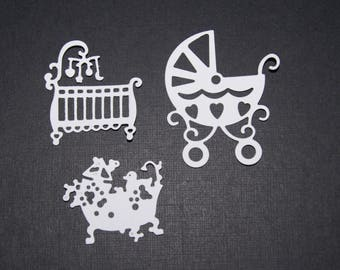 Set of 3 cuts, cradle, pillows and baby stroller
