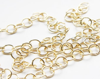 3 Feet 16K Gold Plated Brass Base Chains-Ring 8mm (444C08)