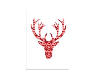 Abbildung Kunstdruck, Hirsch, Original gestaltete Musterbrief, gedruckt Kunst, skandinavisches Design, rot, weiß, skandinavische Kunst, nordischen Stil