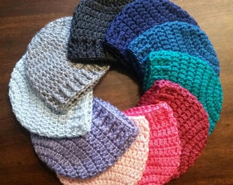 Handmade crocheted baby beanie hat in multiple colors of your choice