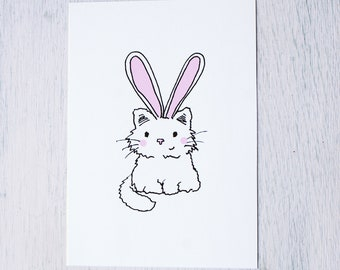Card-cat with rabbit ears