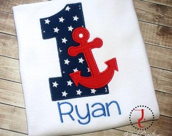 Anchor Birthday Shirt - 1st Birthday, Birthday Shirt, 1st Birthday Boy, Baby Girl First Birthday, Birthday Outfit, Anchor Shirt, Summer