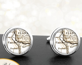 Map Cufflinks Vancouver WA Cuff Links State of Washington for Groomsmen Wedding Party Fathers Dads Men