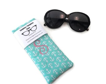 Monogram Letters, Sunglass Case, Eyeglass Case, Turquoise, Limpet Shell, Anchor Sunglass Case, Personalized Gift For Women, Friend, Coworker