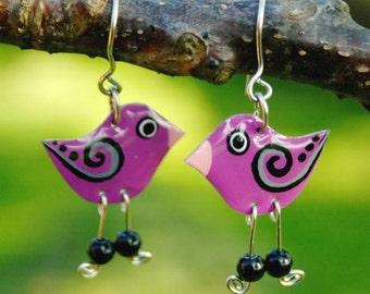 Purple bird earrings, hand painted enamel earrings, stainless steel earrigns, whimsical fun quirky jewelry, fun earrings, colorful jewelry
