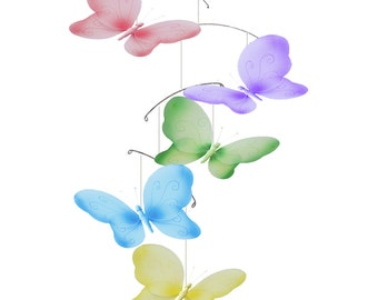 Butterfly Mobile Baby Mobile, Ceiling Mobile, Hanging Butterfly, Crib Mobile, Baby Room Decor, Girls Nursery Decoration, Kid Decor, Swirls
