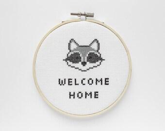 Welcome Home Raccoon Cross Stitch, Home Decor, Trash Panda, Wall Hanging, Funny Cross Stitch, Welcome Sign, Toronto, Housewarming Gift, Cute
