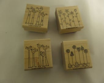 "STAMPIN'UP! Set of 4 2003 Rubber Stamps! ""Simple Somethings"""