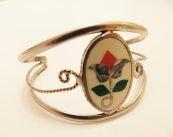 Alpaca Silver Flower Vintage Cuff Bracelet