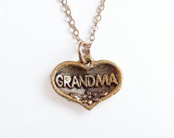 Grandma heart charm necklace - Mother's Day Jewelry - grandma necklace - gold necklace - grandma charm necklace