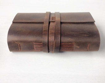 Sketchbook, Leather bound journal, leather notebook, leather travel journal, vintage distressed brown, a6