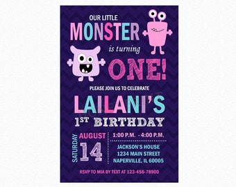 Monster Birthday Party Invitation, Little Monster Bash Theme, Pink, Purple, Personalized, Printable or Printed Invitations