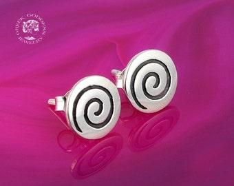 spiral silver stud earrings, spiral studs, greek earrings, spiral stud earrings, spiral silver studs, greek jewelry, goddess jewelry, greek