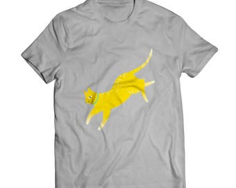 Yellow jumping cat Men's t-shirt / Black/ Gray/ White/Cotton / Active / Wear/ Daily /Casual/ Active