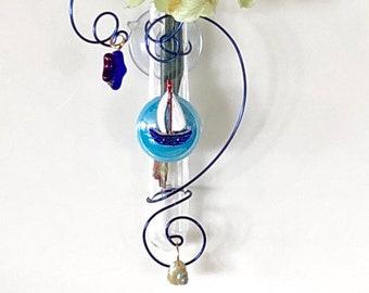 Sailboat 3 inch Glass Suction Window Vase Bud Vase Nautical Gift Sailor Gift Seaside Home Decor