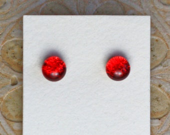 Dichroic Glass Earrings, Red  DGE-1331
