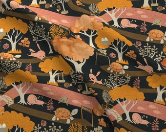Folk Tale Fabric - The Tortoise And The Hare By Ceciliamok - Children's Story Animal Orange Pink Cotton Fabric By The Yard With Spoonflower