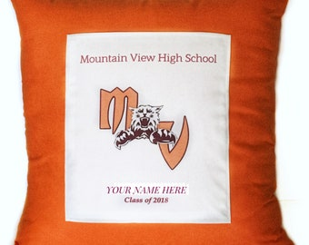 Personalized Graduation Pillow Cover with Invisible Zipper, Customize with Your School Colors!