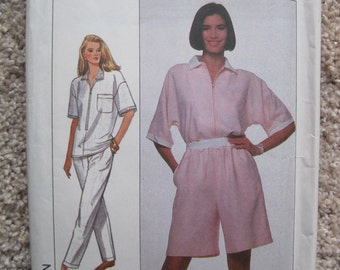 UNCUT Misses Top and Pants and Shorts - Simplicity Sewing Pattern 9206 - Vintage 1989