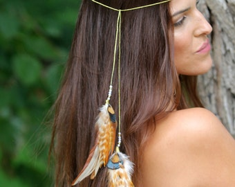 Feathers headband, Permanent / temporary hair accessories, Festivals hair feathers extension, hair feathers extension, tribal, Burning man