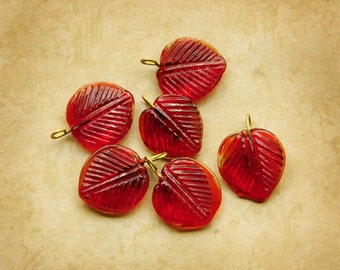 Ruby Red 14mm Pressed Glass Leaf Leaves with Embedded Wire Loop, (B1-R3-C3), Quantity 6
