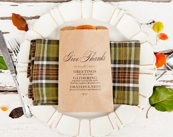 Thanksgiving Dinner Table Setting - Give Thanks Menu - Thanksgiving holiday Host - Bread or Silverware Bag - Packs of 5 Kraft Bags
