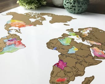 Watercolor Scratch Off World Map- Travel Map (20x30in) Watercolor Art International Map - Graduation Gift