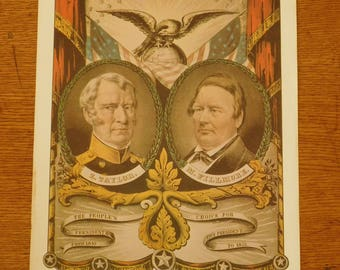 Vintage 1848 US presidential campaign poster, Zachary Taylor, Millard Fillmore, Grand National Whig Banner, 12th President of United States