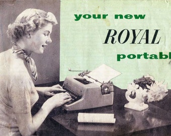 Royal Quiet Deluxe 1950s Typewriter User Instruction Manual, Digital Download, How To Use The Portable Royal Quiet Deluxe Touch Control