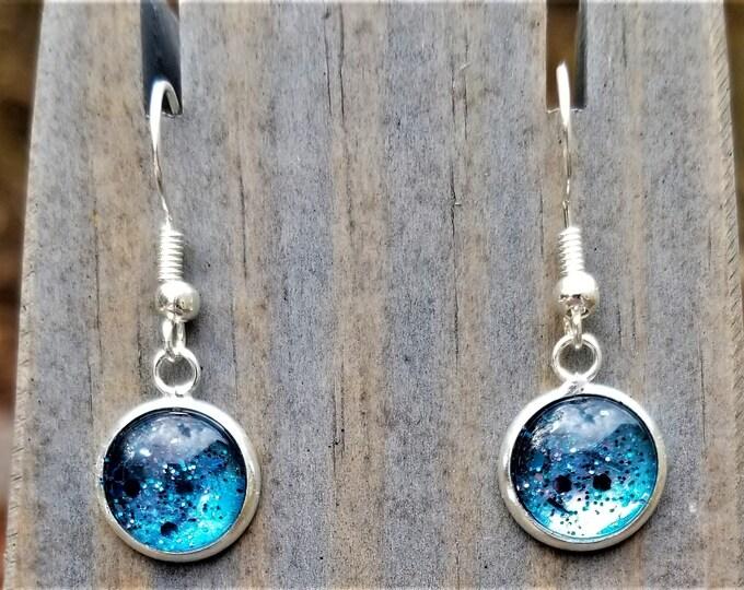 Blue Hand Painted Glass Glitter Drop Earrings