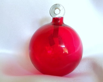 Vintage Unsilvered Christmas Ornament, Red Holiday Ornament with Silvered Paper Hanger