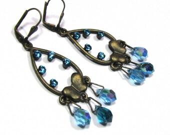 Blue Crystal, blue rhinestones - brass drops earrings