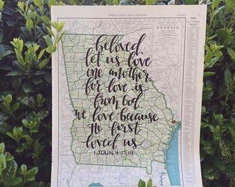 Georgia & Idaho | personalized calligraphy map | original vintage map | calligraphy map | custom calligraphy map