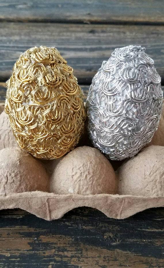 Decorative Easter Eggs, Metallic  Eggs, Easter Vase Filler,