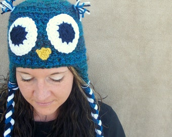 Owl Hat in Peacock - Woodland Bird Animal Hat for Grown Ups, Women's Ornithology Hat