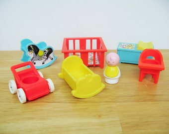 Vintage Fisher Price Little People Nursery with Baby