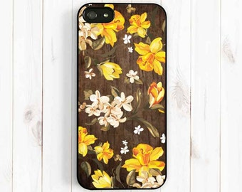 Daffodil Pattern iPhone Case, Personalized Printed Image False Wood iPhone 7 5s , iPhone 5C, iPhone 4S, Samsung Galaxy S3 S4 S5, Note 3 np42