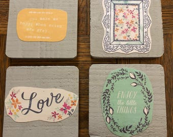 Set of four wooden coasters!  Great as a gift or for your own home