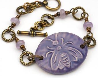 Purple bee bracelet, antiqued brass, boho style, amethyst beads, 7 1/2 inches long, Laurel Moon Jewelry