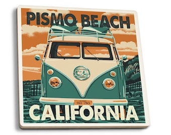 Pismo Beach, CA - VW Van Letterpress - LP Artwork (Set of 4 Ceramic Coasters)