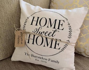 Home Sweet Home Personalized Pillow